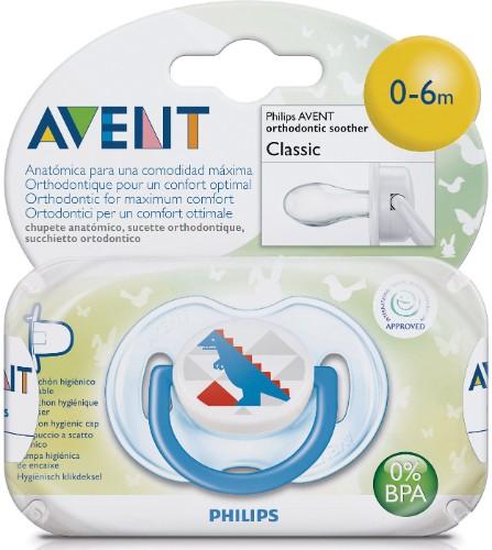 Avent Philips Пустышка силиконовая Дизайн для мальчика 0-6 мес. (1 шт.